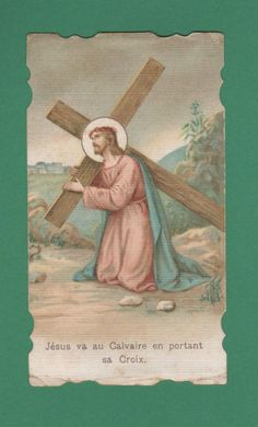 JESUS CARRYING THE CROSS Old DIE CUT HOLY CARD