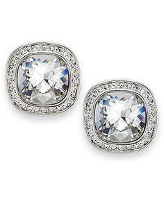 Swarovski Earrings, Rhodium-Plated Crystal Stud Earrings