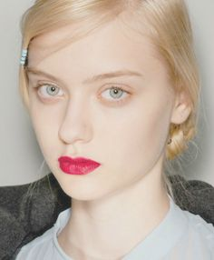 cherry lip, bare eyes