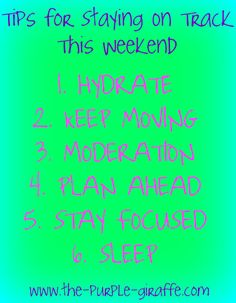 The Purple Giraffe: Tips for Staying On Track This Weekend!