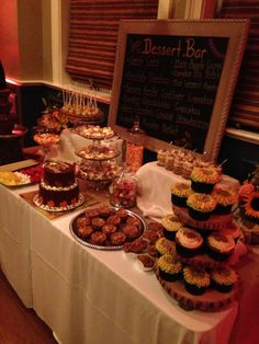 Fall style dessert bar Ward Christmas Party, Christmas Parties, Thanksgiving Treats, Halloween Parties, Party Desserts, Bar Ideas, Dessert Bars, Fruits And Veggies, Event Decor