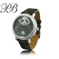 US $92.00 - 2016 Hign Quality Crystal From Swarovski Dress Diamond Cartoon Panda Table Luxury Watch Women ladies Quartz Watches HL576BG PB