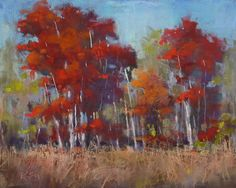 RED TREES Autumn Fall Landscape Original Pastel Painting Karen Margulis
