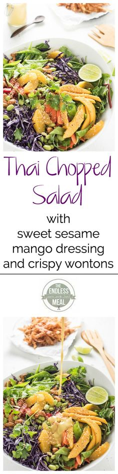 Thai Chopped Salad with Sweet Sesame Mango Dressing and Crispy Wontons | The Endless Meal