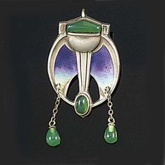 A Jugendstil silver, enamel and chrysoprase brooch designed by Patriz Huber, made by Theodor Fahrner and marketed by Murrle, Bennett & Co., of stylised torch and shaded enamel wing design set with chrysoprase, with twin chrysoprase drops, the reverse with marks for all above mentioned, with later roller safety catch.