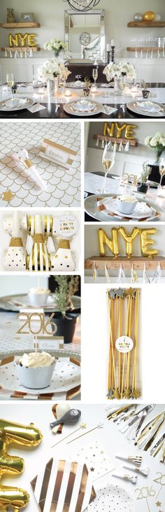 Silver and Gold New Years Eve Party Kit | NYE party supplies, and decor. New Years Party in a box