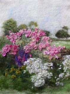Beautiful piece by MarmaladeRose: The Garden Wall. Needle Felted, Wet Felting, Felted Wool, Felt Embroidery, Embroidery Ideas, Japanese Embroidery, Flower Embroidery, Embroidered Flowers, Embroidery Stitches