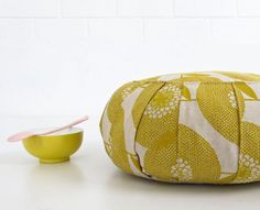 these tea towels by Rie Elise Larsen at HappyHome. and this Zafu pouf from skinnylaminx. Meditation Cushion, Meditation Space, Meditation Altar, Custom Pillows, Decorative Pillows, Pillow Quotes, Sewing Pillows, How To Make Pillows, Floor Cushions