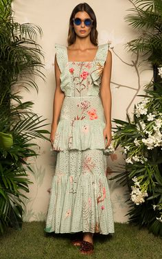 Get inspired and discover Johanna Ortiz trunkshow! Shop the latest Johanna Ortiz collection at Moda Operandi. Runway Fashion, Girl Fashion, Day Dresses, Summer Dresses, Sweet Dress, Mint, Ruffle Dress, Casual Looks, Editorial Fashion