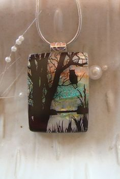 Dichroic Glass Pendant Fused Glass Jewelry by myfusedglass on Etsy, $26.00