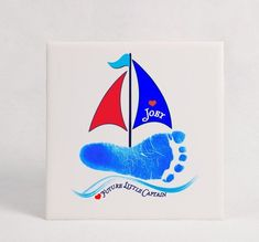 Your place to buy and sell all things handmade - Sandi Radue - Your place to buy and sell all things handmade Sail Boat Footprint Ceramic Tile Plaque, Using Actual Prints, Daddy's Little Sailor, Baby Footprint, Sailboat Enthusiast Daddy Keepsake - Toddler Art, Toddler Crafts, Crafts For Kids, Summer Art, Summer Crafts, Baby Footprint Art, Sailor Baby, Boat Crafts, Handprint Art