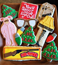 """You'll shoot your eye out"" The Christmas Story movie themed cookies. ""You'll shoot your eye out"" The Christmas Story movie themed cookies. Christmas Goodies, Christmas Treats, Christmas Baking, Holiday Treats, Holiday Fun, Christmas Holidays, Holiday Recipes, Christmas Vacation, Merry Christmas"