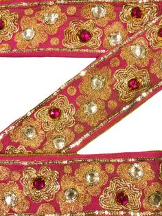 Trim & Edging Sewing Modest Sanskriti Vintage Saffron Sari Border Hand Embroidered Indian Craft Trim Lace