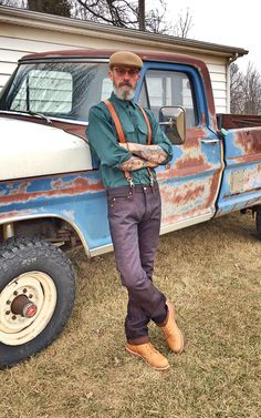 Momotaro 0702BR Selvage Denim, 1950's NOS Blue Bell Work Shirt, Thorogood Work Boots, USA Crafted Leather Suspenders.