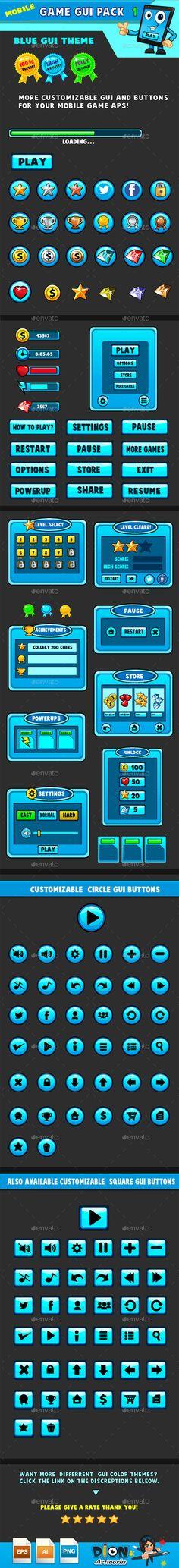 Mobile games GUI Pack Transparent PNG, Vector EPS, AI Illustrator. Download here: https://graphicriver.net/item/mobile-games-gui-pack1-blue-theme/9453260?ref=ksioks