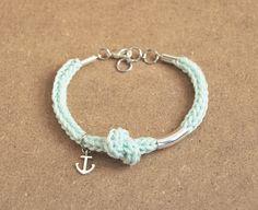 Mint anchor bracelet mint bracelet with anchor by LeiniJewelry #mint #bracelet #anchor #jewelry #style