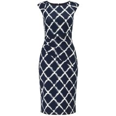 Phase Eight Diamond Print Dress, Navy/White ($74) ❤ liked on Polyvore featuring dresses, cap sleeve maxi dress, white dress, midi dresses, navy blue maxi dress and white mini dress