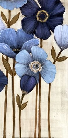 ▨texturas - Fine-Art Print - Fleurs Bleues II by Maja Art Floral, Stretched Canvas Prints, Fabric Painting, Blue Flowers, Pink Tulips, Painting Inspiration, Flower Art, Watercolor Art, Fine Art Prints