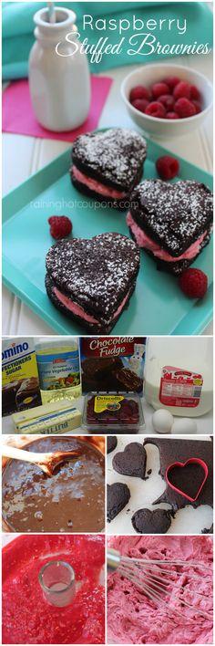 Raspberry Stuffed Brownies