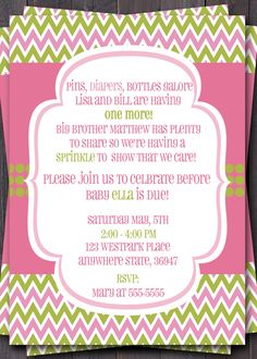 Baby Sprinkle, Baby Shower, or Sip n See Invitation -- Baby boy or Girl baby -- Modern Chevron -- Custom printable jpeg file. $12.00, via Etsy.