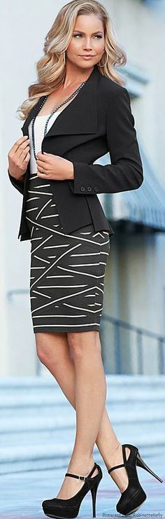 Black and White Dress Black Blazer and Black Ankle Strap High Heels
