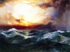 Thomas Moran Sunset after a Storm Painting    I think this would be beautiful above the bed.