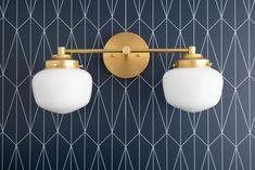 Schoolhouse Shade – Vanity Light – Globe Vanity – Opal Glass – Brass Vanity – Vanity Lighting – Bathroom Lights – Model No. Art Deco Bathroom, Brass Bathroom, Downstairs Bathroom, Mirror With Lights, Wall Lights, Ceiling Lights, Bathroom Lights Over Mirror, Wall Lamps, Mirrors