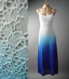 Ombre Dip Dye Eyelet Embroidered Lace White Blue Slip Long Maxi 149 ac Dress M #Other #Maxi #SummerBeach