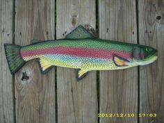Sculpture: ($48) Rainbow Trout Custom Made Wood Carving Fish Decoy Mount By Kenneth Ozanne