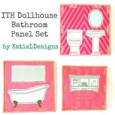 In The Hoop Dollhouse Bathroom Panel Set Machine Embroidery Design by KatieLDesigns. Can be used for a traveling dollhouse or an at home dollhouse! Perfect for fun, imaginative play!