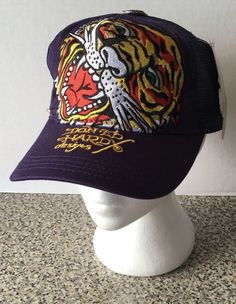 Don ED HARDY Designs Snapback Hat Cap Mesh Purple Tiger Head Speed Kills NEW NWT #EdHardy #BaseballCap