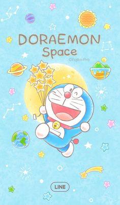 LINE Themes,Doraemon (Space),Fujiko-Pro,Blast off into fun times with Doraemon! Doraemon Wallpapers, Cute Cartoon Wallpapers, Pretty Wallpapers, Lines Wallpaper, Kawaii Wallpaper, Dora Wallpaper, Doremon Cartoon, Chibi, Anime Fnaf