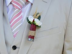 Lovely Fall Styled boutonniere. | Groom Room | A Rustic DIY Wedding In Saskatchewan | Weddingbells