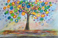 Original Painting Whimsy Lemon Tree Colorful by LUIZAVIZOLI