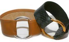 DIY Leather and Gold Ring Bracelets via Brit + Co.