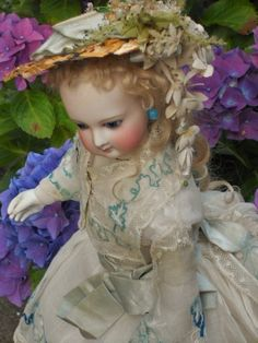 Delicate French Bisque Poupee with Marvelous Costume