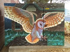 Barn Owl art at Fort Collins Water Works by Larry Tucci