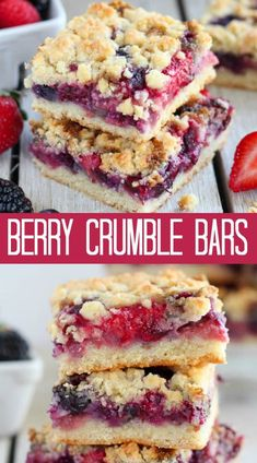 Mixed Berry Crumble Bars – Buttery crumb bars filled with fresh berries. The cru… Mixed Berry Crumble Bars – Buttery crumb bars filled with fresh berries. The crust and topping is made from the same mixture, making this a quick and easy recipe! Apple And Berry Crumble, Fruit Crumble, Raspberry Crumble Bars, Blackberry Crumble, Fruit Cobbler, Easy Desserts, Delicious Desserts, Dairy Free Desserts, Easy Dessert Bars