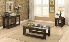 Brown Black Glass Metal Coffee Table Set