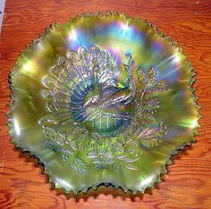 Rare and Beautiful Emerald Green Peacocks Carnival Glass.