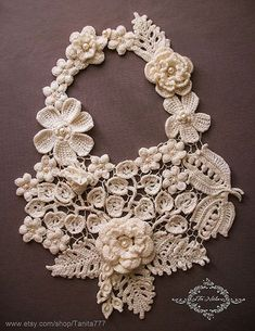 Statement Flower Necklace Crocheted Jewelry with pearls Big floral Long necklace Irish lace handcraft Wedding Prom jewelry Crochet Flowers Necklace with pearls beads. Jewelry, Lariat, Bib of Irish Lace. Gift for her, wedding. Crochet Leaves, Crochet Motifs, Crochet Flower Patterns, Lace Patterns, Crochet Flowers, Doilies Crochet, Crochet Lace Collar, Lace Knitting, Flower Necklace