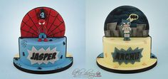 Spiderman and Batman « Black Cherry Cake Company Gorgeous Cakes, Amazing Cakes, Cake Company, Baby Spiderman, Twin Birthday Cakes, 3rd Birthday, Cake Models, Cake International, Twins Cake