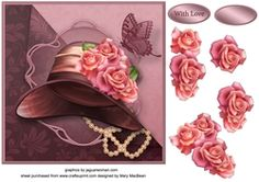 All About the Hat Decoupage Card Front on Craftsuprint - View Now!