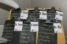 Great idea for the kids to have name badges for any doctor or scientists themed party