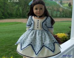 """PDF Pattern for American Girl Doll / Historical Blue Lobelia Gown/  Sewing Pattern for 18"""" Dolls"""