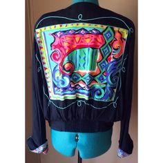 Vintage Carol Little Lightweight Jacket FABULOUS 80s Vintage Blazer from Carole Little.  See pictures and you will know what I'm talking about.  Lightweight little jacket with padded shoulders.  Vibrant abstract art design on the back - wild stripes on the front.  Huge rock candy looking buttons.  Tapered waist and cuffed sleeves. This beauty is a head turner!   Condition: EUC - no fading, rips, odors, stains.  AMAZING vintage piece. Material: 100% rayon - lightweight and silky feeling Size…