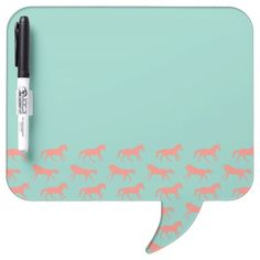 Very CUTE for the college dorm student horse lover! Coral pink and mint green dry erase memo board and pen with galloping horses pattern for a fun equestrian themed room!