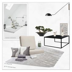 """Modern Zen"" by rainie-minnie ❤ liked on Polyvore featuring interior, interiors, interior design, home, home decor, interior decorating, Dot & Bo, Soicher Marin, Alessi and CB2"