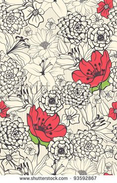 Seamless Floral Pattern With Red Flowers On Monochrome Background -このベクター画像素材はShutterstockで購入できます。他にもさまざまな画像が見つかります。