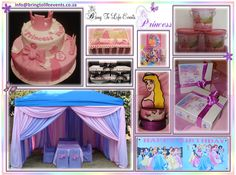 Princess kids party with draped gazebo, cake, polystyrene centerpiece, banner, party packs and party buckets